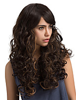 Ripe Oblique fringe Brown Long Curly Hair Synthetic Wig