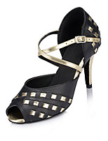 Women's Latin Faux Leather Sandals Performance Criss-Cross Stiletto Heel Black 3