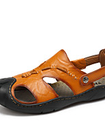 Men's Sandals Formal Shoes Real Leather Summer Fall Casual Office & Career Walking Formal Shoes Split Joint Low Heel Brown YellowUnder