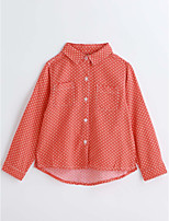 Girls' Polka Dot Shirt,Cotton Spring Fall Long Sleeve