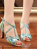 Women's Dance Sneakers Real Leather PU Sandals Sneakers Indoor Chunky Heel Blue Gold 2