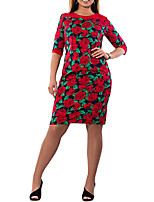Women's Plus Size Casual/Daily Vintage Sheath Dress,Polka Dot Floral V Neck Maxi Half Sleeve Cotton Polyester Summer High Rise