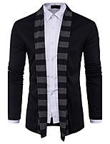 Herren Standard Strickjacke-Lässig/Alltäglich Einfach Gestreift Einfarbig V-Ausschnitt Langarm Polyester Frühling Herbst Dünn