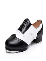 Men's Tap Real Leather Heels Sneakers Practice Splicing Low Heel White/Green Black/White Red/White Brown/White Blue 1