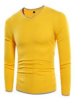 Men's Casual Simple Regular Pullover,Solid V-neck Long Sleeve Cotton Blend Fall Medium Micro-elastic