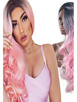 Highlight Fashion Black to Pink Ombre Long Length Body Wave Curly Beauty Natural Synthetic Wig Heat Resistant Hair for Daily or Cosplay Drag Queen Wig