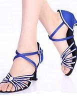 Women's Latin Silk Heels Indoor Buckle Crystals/Rhinestones Blue Black 2
