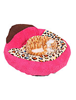 Dog Bed Pet Baskets Leopard Color Block Warm Breathable Soft Washable Leopard