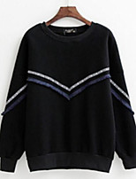 Women's Casual Sweatshirt Solid Round Neck Inelastic Cotton Long Sleeve Spring Fall