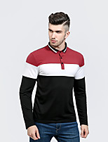 Men's Casual/Daily Street chic Polo,Letter V Neck Long Sleeve Polyester