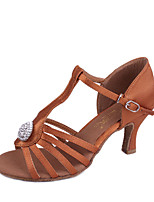 Women's Latin Silk Sandals Indoor Rhinestone Flared Heel Brown Black