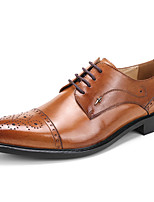 Men's Wedding Shoes Formal Shoes Cowhide Leather Spring Fall Wedding Office & Career Party & Evening Formal Shoes Burgundy Brown Black