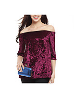 Women's Casual/Daily Sexy Summer T-shirt,Solid Boat Neck Half Sleeve Polyester Medium