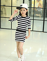 Girl's Fashion Stripes Dress,Cotton Polester/Cotton Blend All Seasons Long Sleeve