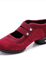 Women's Dance Sneakers Faux Suede Tulle Sneakers Outdoor Splicing Flat Heel Green Ruby Black 1