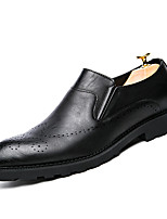 Men's Oxfords Comfort Leather Summer Fall Casual Office & Career Party & Evening Comfort Flat Heel Black Flat