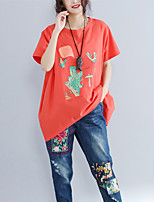 Women's Daily Vintage Boho Spring Summer T-shirt,Printing Round Neck Short Sleeve Cotton Blend Medium