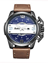 Oulm Brand Men Genuine Leather Band Quartz Watch Clock Luxury Waterproof Big Dial Fashion Wristwatch With Calendar