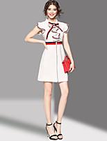 Для женщин На выход Очаровательный Оболочка Платье Пэчворк,Рубашечный воротник Выше колена С короткими рукавами Полиэстер Лето Со