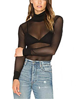 Women's Sexy Mesh T Shirt See Through Solid Turtleneck Long Sleeve Opaque Pullover