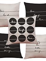 Set of 5 Modern Minimalist British Art Pattern  Linen Pillowcase Sofa Home Decor Cushion Cover (18*18inch)
