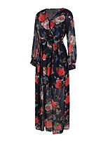 ANGELL Women's Party Going out Casual/Daily Simple Street chic A Line DressFloral V Neck Maxi Long Sleeve Cotton Spring Fall High Rise