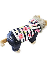 Dog Coat Dog Clothes Casual/Daily Floral/Botanical Coffee Red Blue
