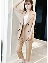 Women's Office/Career Business Contemporary Summer Blazer Pant Suits,Solid Shirt Collar Sleeveless