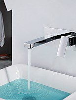 Modern Style Widespread with  Ceramic Valve Single Handle Double Holes for  Chrome  Bathroom Basin Sink Faucet