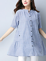 Women's Casual/Daily Vintage Spring Fall Shirt Round Neck Short Sleeve Linen Thin