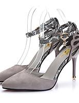 Women's Heels Slingback Summer PU Office & Career Black Gray Blushing Pink 3in-3 3/4in