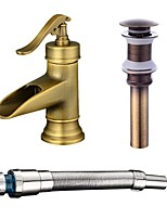 Centerset Waterfall with  Ceramic Valve One Hole for  Antique Copper , Bathroom Sink Faucet