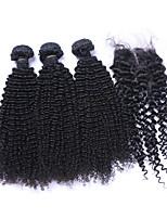 Натуральные волосы Бразильские волосы Человека ткет Волосы Kinky Curly Вьющиеся волосы Наращивание волос 4 предмета Черный