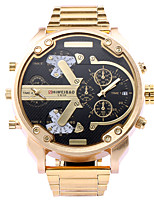 Men's Sport Watch Japanese Quartz Calendar Dual Time Zones Large Dial Stainless Steel Band Gold Gold/White Black/Gold