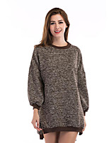 Women's Casual/Daily Street chic Regular Pullover,Solid Round Neck Long Sleeve Acrylic Fall Winter Thick Stretchy
