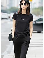 Tee-shirt Femme,Couleur Pleine Mot/Phrase Quotidien Décontracté simple Manches Courtes Col Arrondi Coton