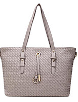 Women Tote PU All Seasons Casual Outdoor Barrel Zipper Gray Black
