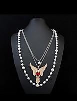 Femme Pendentif de collier Colliers chaînes Collier multi rangs Imitation de diamant Forme d'Animal Imitation de perle Gemme Verre Alliage