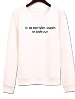 Women's Going out Sweatshirt Solid Print Letter Round Neck Micro-elastic Cotton Long Sleeve Spring Fall