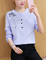 Women's Casual/Daily Street chic Spring Fall Loose Shirt Striped Embroidery Round Neck Long Sleeve Cotton Polyester Medium