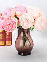 5 Rama Plástico PU Toque real Peonías Flor de Mesa Flores Artificiales