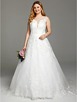 A-line Bateau Court Train Lace Tulle Wedding Dress with Appliques Buttons Sashes/ Ribbons by LAN TING BRIDE®