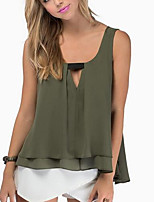Women's Going out Casual/Daily Sexy Street chic Spring Summer Tank Top,Solid Round Neck Sleeveless Polyester Medium