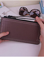 Women Checkbook Wallet PU All Seasons Casual Rectangle Zipper Ruby Light Purple Chocolate