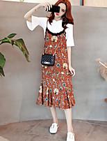 Для женщин На каждый день Лето Как у футболки Платья Костюмы Круглый вырез,На каждый день Однотонный Цветочный принт 1/2 Length Sleeve