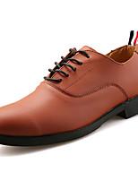 Для мужчин Туфли на шнуровке Удобная обувь Полиуретан Весна Осень Удобная обувь На плоской подошве Черный Синий Темно-коричневыйНа