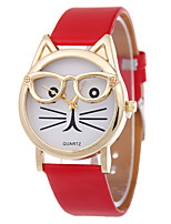 Жен. Модные часы Кварцевый Кожа Группа Черный Белый Синий Красный Коричневый Розовый
