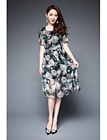 1898 Women's Party Going out Vintage Sophisticated Sheath Swing DressFloral Print Round Neck Midi Half Sleeve Others Summer Mid Rise Inelastic