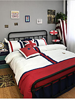 British Style Painting 4 Piece Bed Sets 100% Cotton 1pc Duvet Cover 2pcs Shams 1pc Flat Sheet For 1.5-1.8 Meter Bed