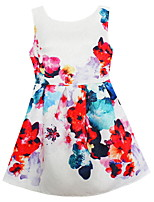 Girls Ink Flower Print Dresses Party Birthday Children Clothes Summer and Autumn Kids Clothing